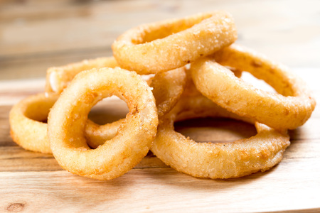 onion rings: Fast food Homemade Crunchy Fried onion rings Stock Photo