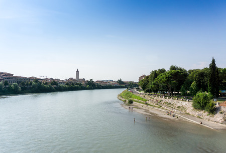 Beautiful street view of  Verona center which is a world heritage site Stock Photo