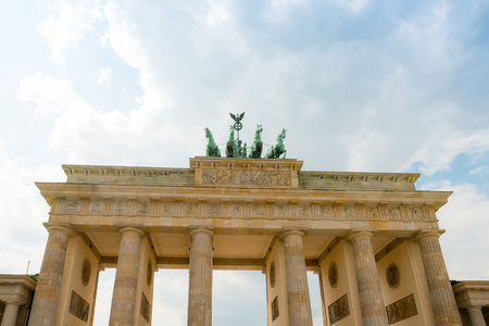 rebuilt: Brandenburg Gate (Brandenburger Tor), famous landmark in Berlin, Germany,rebuilt in the late 18th century as a neoclassical triumphal arch