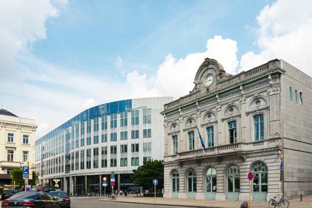 BRUSSELS, BELGIUM - June 16, 2016 : Exterior of the building of the European Parliament in Brussels, Belgium. it exercises the legislative function of the EU.June 16, 2016, BRUSSELS, BELGIUM Editorial
