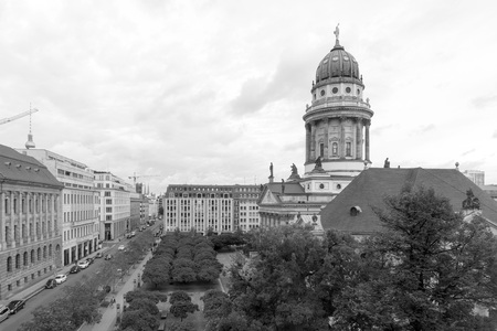 building monumental: BERLIN, GERMANY- October 7, 2016: The Gendarmenmarkt is a square in Berlin, and the site of the Konzerthaus and the French and German Cathedrals. October 7, 2016 in Berlin Editorial