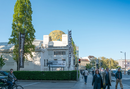 VIENNA, AUSTRIA-April 20, 2016: Vienna Secession Building was formed in 1897 by a group of Austrian artists. Vienna Secession on April 20, 2016.Vienna, Austria