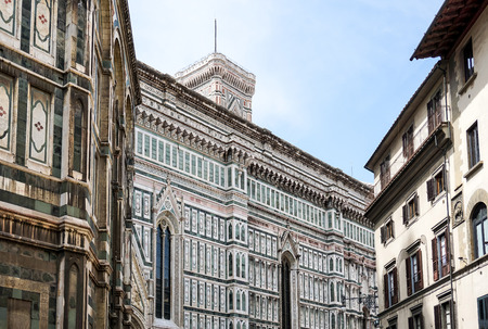 Beautiful street View of the Cathedral Santa Maria del Fiore in Florence, Italy Stock Photo