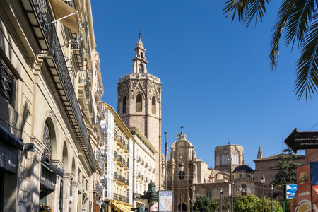 VALENCIA, SPAIN - March 10, 2017: street view of downtown valencia, is Spains third largest metropolitan area, with a population ranging from 1.7 to 2.5 million.