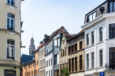 culturally: Beautiful street view of  Old town in Antwerp, Belgium, has long been an important city in the Low Countries, both economically and culturally.