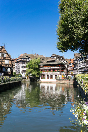 STRASBOURG, FRANCE - August 23, 2016 : Street view of Traditional houses in Strasbourg,  Alsace. is the official seat of the European Parliament, Located close to the border with Germany Editorial