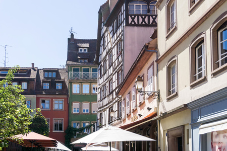 central european: STRASBOURG, FRANCE - August 23, 2016 : Street view of Traditional houses in Strasbourg,  Alsace. is the official seat of the European Parliament, Located close to the border with Germany Editorial