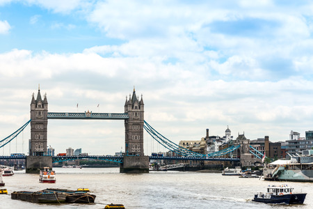 Beautiful River view of Antique London Bridge Stock Photo