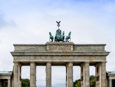 18th: Brandenburg Gate Brandenburger Tor, famous landmark in Berlin, Germany,rebuilt in the late 18th century as a neoclassical triumphal arch