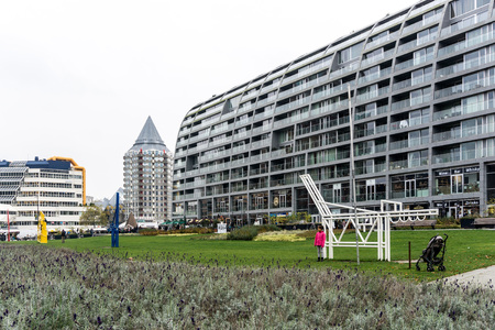 ROTTERDAM, Netherlands - February 7, 2017 : Street view of Rotterdam City Netherlands. back to 1270 when a dam was constructed in the Rotte river by people settled around it for safety. Editorial