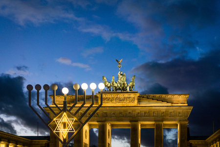 BERLIN, GERMANY- December 24, 2016: Brandenburg Gate (Brandenburger Tor) famous landmark in Berlin, Germany,rebuilt in the late 18th century as a neoclassical triumphal arch in Berlin Editorial