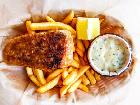 British Traditional fish and chips and  tartar sauce Stock Photo