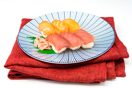 maguro: fresh sushi traditional japanese food on the table Stock Photo