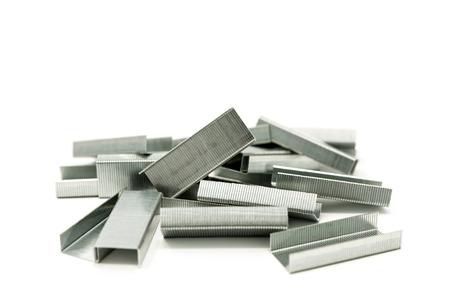office stapler: closeup Staples isolated on white background Stock Photo