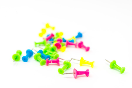 colorful pins isolated on white background Stock Photo