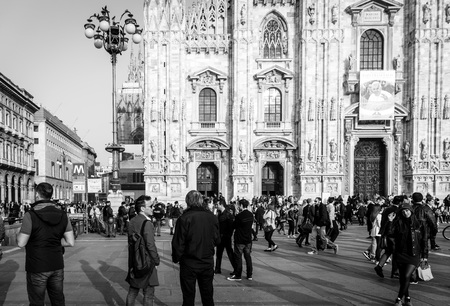 MILAN, ITALY - March 16, 2017: street view of downtown milan, capital of the Lombardy region, ranking 4th in the European Union Editorial