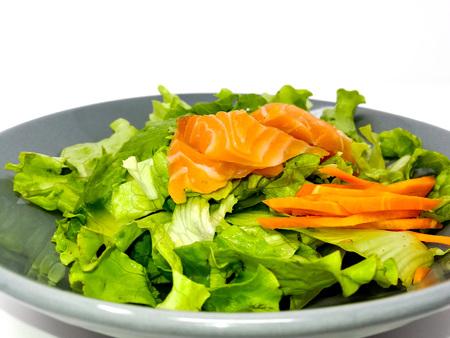 plate: Fresh seafood salad with smoked salmon Stock Photo
