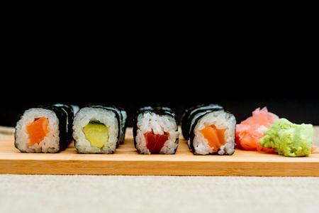 Japanese food Sushi Roll Maki of Salmon and avocado