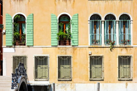 venice: Traditional street view of old buildings in Venice, ITALY Stock Photo