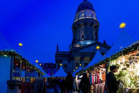 roemer: BERLIN, GERMANY - DECEMBER 23, 2016: Beautiful decorated booths and christmas lights at Gendarmenmarkt Christmas Market. Editorial