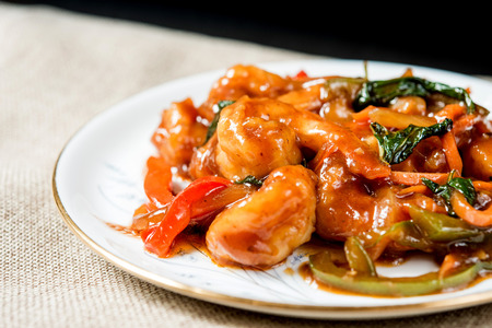 Chinese cuisine shrimp with hot sauce