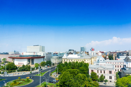 street view of downtown in Bucharest, Romanian Stock Photo