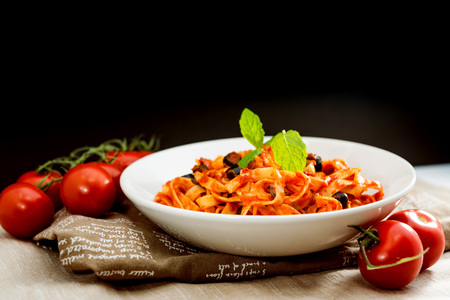tasty pasta Italian meat sauce pasta on the table Stock Photo