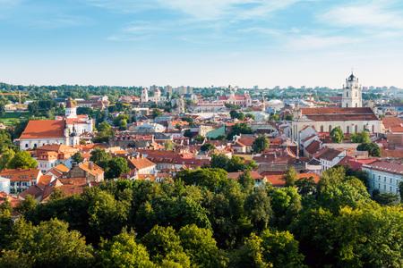 De traditionele bouw van de Kathedraal in Litouwse Vilnius Stockfoto