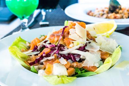 Fresh seafood salad with smoked salmon Stock Photo