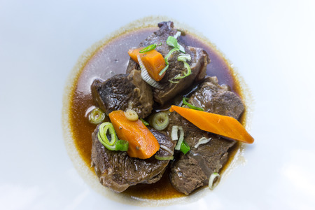 Closeup of pork stew Meat with vegetables Stock Photo