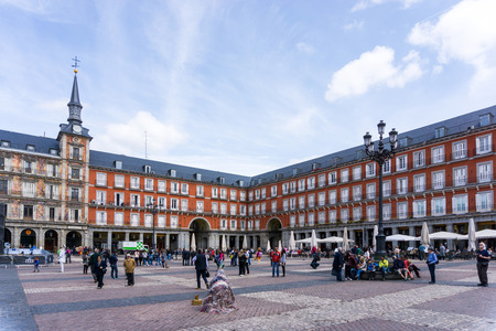 MADRID, SPAIN - April 20, 2017: The Plaza Mayor (English Main Square)  was built during Philip III's reign (1598–1621) , SPAIN Sajtókép