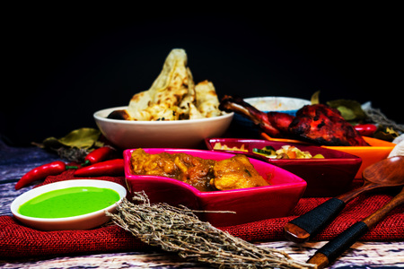 Handmade Indian food chicken tandoori and Tikka with garlic naan Stock Photo