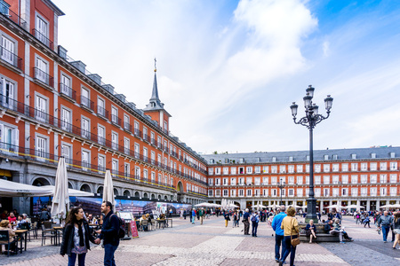 MADRID, SPAIN - April 20, 2017: The Plaza Mayor (English Main Square)  was built during Philip III's reign (1598–1621) , SPAIN 에디토리얼