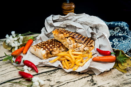 tacos served with golden French fries
