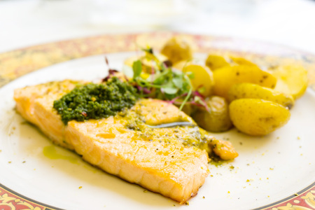 Grilled Salmon with fresh lettuce and mash potatoes Stock Photo