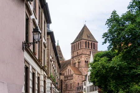Street view of ancient buildings at Strasbourg, Alsace, France Stock Photo