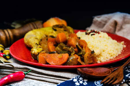 traditional moroccan dish couscous Chicken leg Stock Photo