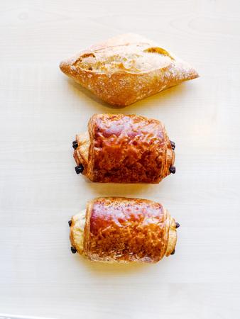 Delicious breakfast bread on table