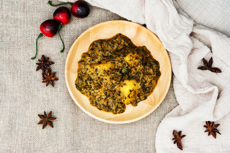 Indian Cuisine of Spinach and Potatoes Stock Photo