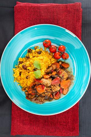 beef tajine with vegetables and Semolina