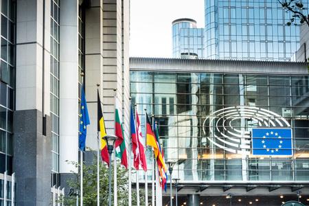 BRUSSELS, BELGIUM - August 5, 2017 : Exterior of the building of the European Parliament in Brussels, Belgium. it exercises the legislative function of the EU.August 5, 2017, BRUSSELS, BELGIUM