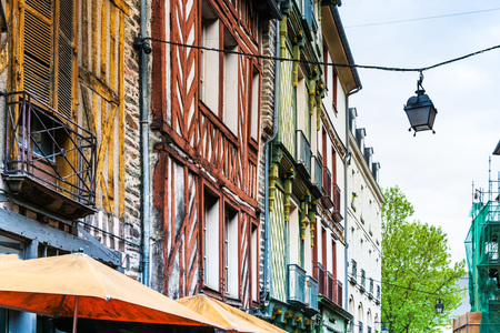 Antique building view in Old Town in Rennes, France