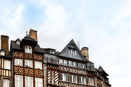 Street view of downtown in Rennes, France