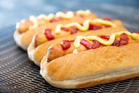 Home made Grilled Hot Dog with cheese, ketchup