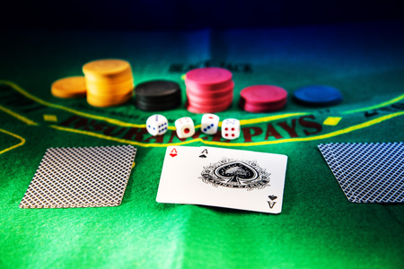 Casino Poker on table Background Editorial