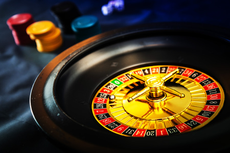 Gambling green table in casino Background Stock Photo