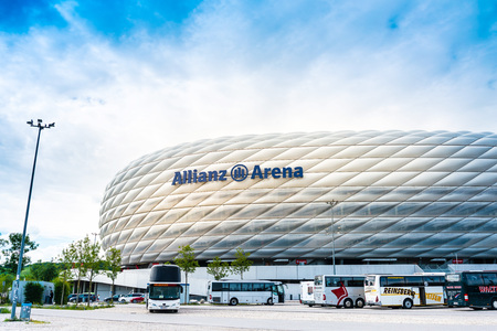 MUNICH, GERMANY- June 25, 2018: Allianz Arena football stadium in Munich, Germany