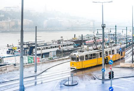BUDAPEST, HUNGARY - January 16,2018: Beautiful Tramway in Budapest, Hungary, Europe