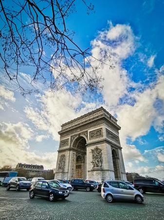 PARIS, FRANCE - DECEMBER 20, 2018 : Arc de triomphe in Paris, one of the most famous monuments, Paris, France. Redakční