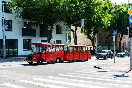 BRATISLAVA, SLOVAKIA - June 27, 2018: sightseeing train in Bratislava, Slovakia